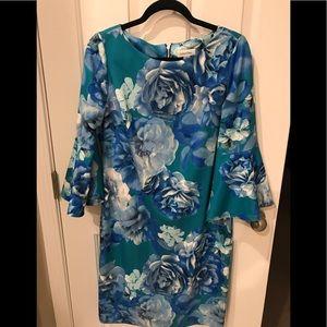 Calvin Klein Floral Flounce Sleeve Dress